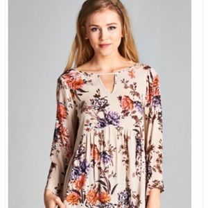 Staccato Floral Print Top with Long Sleeves